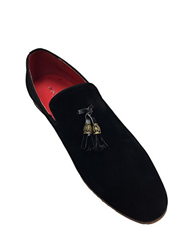 london fashion Mens Slip On Tassel Driving Shoes Faux Suede Loafers Comfortable Black