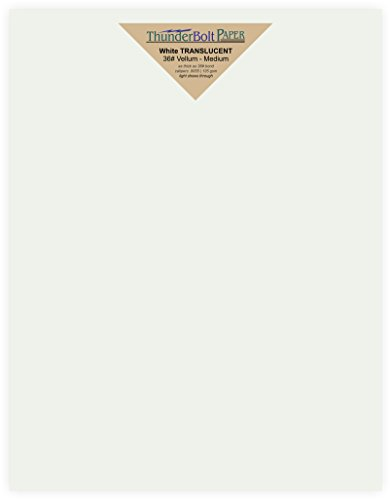 150 Soft White Translucent - 36# (36 lb/Pound) Medium Thick - 8.5 X 11 inches Letter Size - Heavier Weight Vellum Sheets Quality Paper for Fine Results - Fun|Formal - Not a Clear Transparent by ThunderBolt Paper
