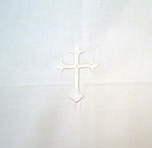Altar Runner - Integrity Designs White Linen Altar Cloth White Cross Embroidery 18 inches Square