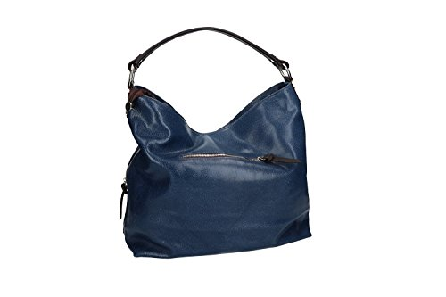 Borsa donna a spalla PIERRE CARDIN blu in pelle MADE IN ITALY VN959