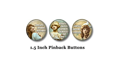Menopause Humor - Sarcastic Pins - 3 Pinback Buttons - 1.5