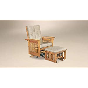 Bow Arm Glider Swivel Chair with Ottoman, Amish Crafted, American Made, Solid Red Oak Wood (Michael's Cherry Stain)