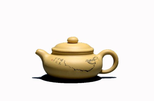 - 1pc Chinese Yixing Handmade Vintage Fanggu Hu Zisha Clay Teapot Lv Ni By Zhang Chunqiang