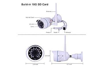 Cámaras de Vigilancia Exterior, 720P Cámara IP WIFI Exterior Impermeable IP66 Puede Grabar en Bucle, Alarma Remota Detección Movimiento Compatible con ...