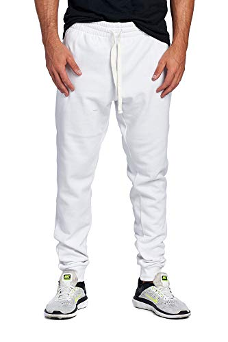 (ProGo Men's Casual Jogger Sweatpants Basic Fleece Marled Jogger Pant Elastic Waist (Medium, White))