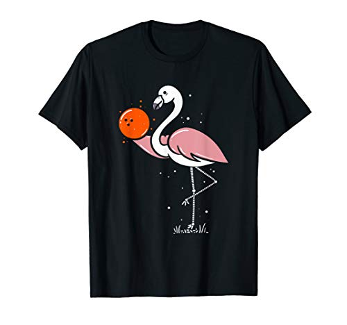 Flamingo Orange Bowling Pin Ball Shirt Funny Bowling TShirts