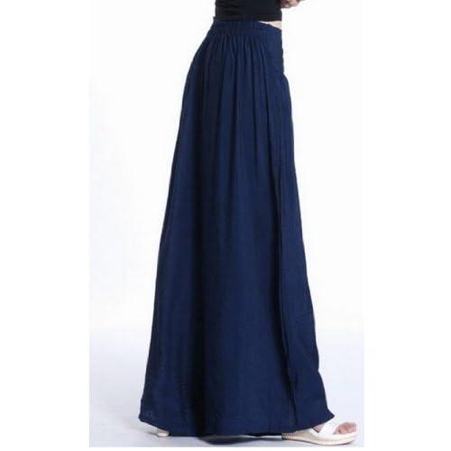 70%OFF Women Casual Loose Long Wide Leg Elastic Waist Pants Trousers Pantskirt Culottes