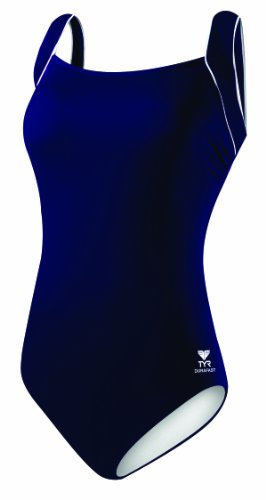 TYR Sport Women's Polyester Solid Square Neck Tank Swimsuit, Navy, 16