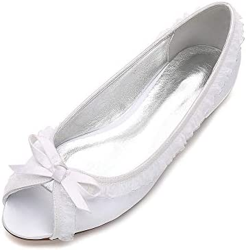 Lianyunneiyi Open Toe Lady Satin Dress Flats Shoes With Ruffles