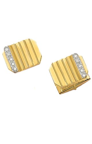 14K Yellow Gold Diamond Rectangle Cufflinks-89334