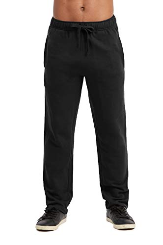 Sweatpants - Men's Active Stretch Open Bottom Terry Sweatpants with Pockets (L, Black)