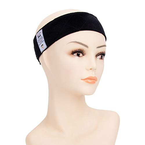 GEX Beauty Flexible Velvet Wig Grip Wig Band Scarf Head Hair Band Adjustable Fastern(Black)