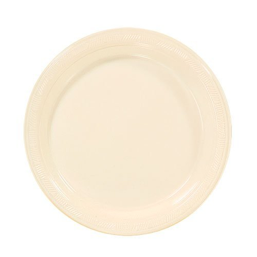 Hanna K. Signature Collection 50 Count Plastic Plate, 7-Inch, Ivory