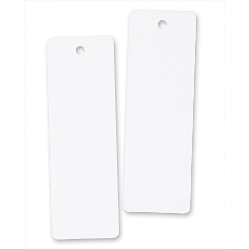 100 White Cardstock Bookmarks With Hole for String or Tassel - Great for Projects and Gifts Tags (Measures Bookmark)