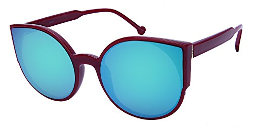 Edge I-Wear Cat Eye Tablet Sunnies w/Flat Color Mirror Lens - Haute Sunglasses Couture