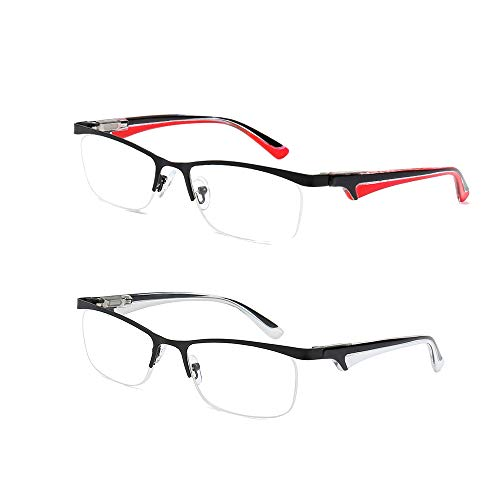 Half Rim Reading Glasses 2 Pack Metal Half Frame Readers Spring Hinge Clear Lenses Eyeglasses for Men Women, - Metal Rim Eyeglasses