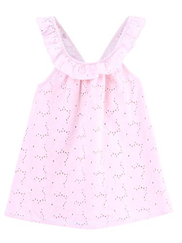 (Beebay Eyelet Emb Dress with Back Bow Pink (Pink Emb, 2Y))
