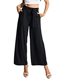 Herose Ladies Solid High Waist Belted Wide Leg Poplin Ninth Pants Cropped Slacks