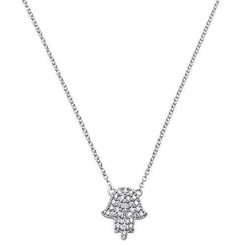 .11ct 14kt White Gold Diamond Trendy Hand of Hamsa Chai Necklace 18