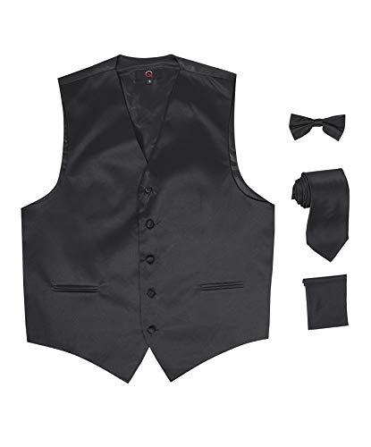 Brand Q 4pc Men's Dress Vest Necktie & Bowtie Pocket Square Set for Suit or Tuxedo - Black - 2XL