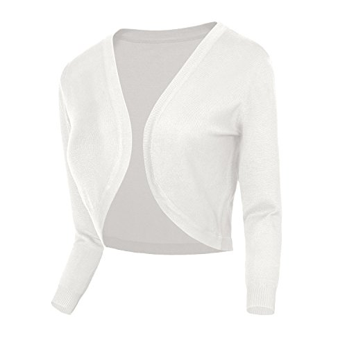 - Urban CoCo Women's Cropped Cardigan V-Neck Button Down Knitted Sweater 3/4 Sleeve (S, 2 White)