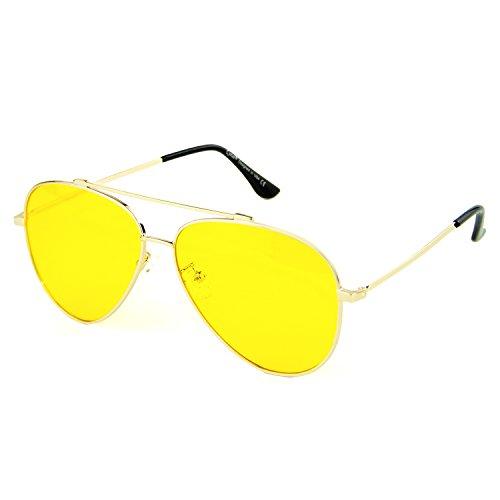 Cyxus Blue light UV Blocking Computer Glasses, Double Bridge Anti Eye Strain Aviator Eyewear, Unisex (yellow lens gold - Group Aviator