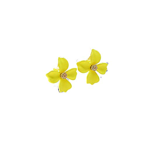 Yellow and Pink Color Flower Shape Clip on Earrings for Women Fashion 4 Leaf Clover Spray Paint Pierced Earrings New,yellow clip - Pierced Clover Earrings Leaf