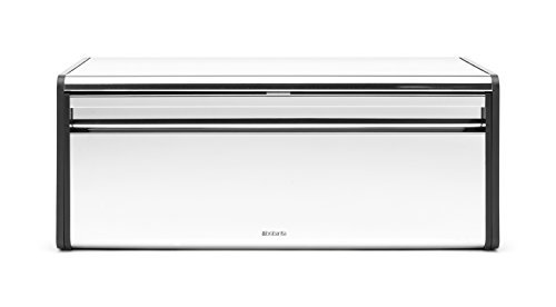 - Brabantia Fall Front Bread Box - Brilliant Steel with Black Sides, 163463 by Brabantia