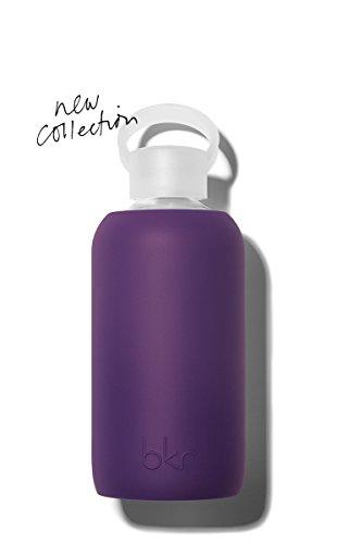 bkr - BEST Original Glass Water Bottle - Premium Quality - Soft Silicone Protective Sleeve - BPA Free - Dishwasher Safe (16oz/500ml)-Taj - Royal Purple by bkr