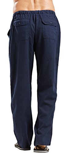 utcoco Qiuse Men's Casual Loose Fit Straight-Legs Stretchy Waist Beach Pants (XX-Large, Navy) by utcoco (Image #1)