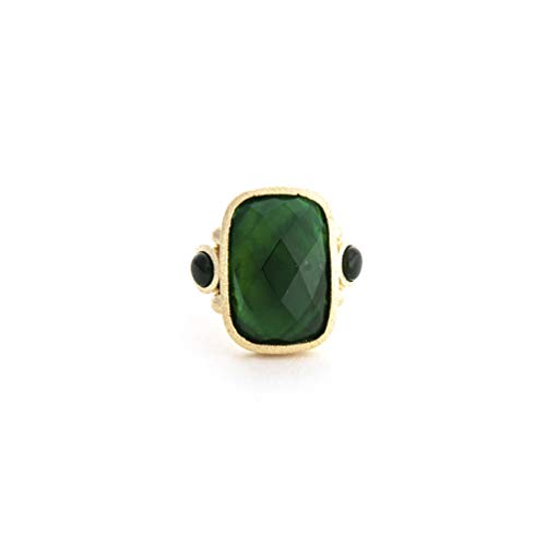 - Rivka Friedman 18K Gold Clad Emerald + Mother of Pearl Doublet Cocktail Ring