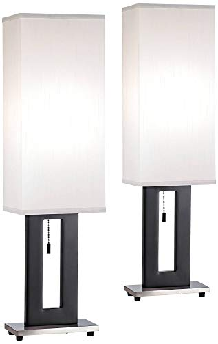 Floating Rectangle Modern Table Lamps Set of 2 Black Base Tall Box Shade for Living Room Family Bedroom Bedside Nightstand - 360 Lighting