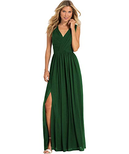 Yilis Plus Size A Line V Neck Slit Chiffon Bridesmaid Dress Long Formal Evening Prom Party Gown Emerald Green US18W