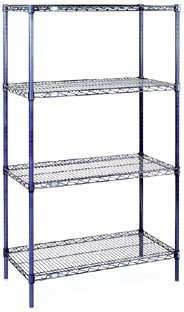 - Nexel 4-Shelf Wire Shelving Unit, Chrome Finish, 24