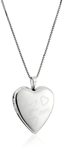 Sterling Silver Polished I Love You More with Hearts Locket Necklace