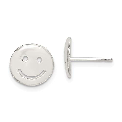 (Sterling Silver Smiley Faces Mini Earrings Solid 10 mm 10 mm Button Earrings Jewelry)
