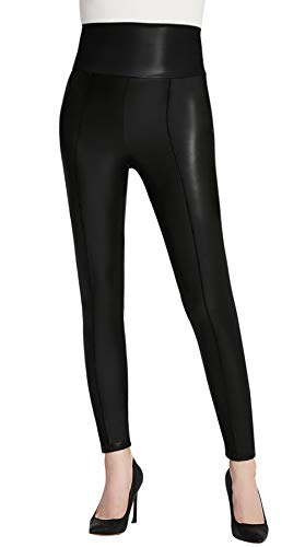 Everbellus High Waisted Faux Leather Leggings for Women Sexy Black Leather Pants -
