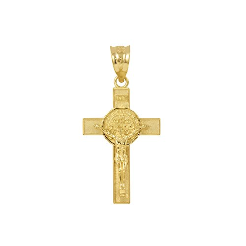 Saint Collection Solid 10k Yellow Gold St. Benedict Crucifix Cross Charm Pendant - Crucifix Cross Yellow