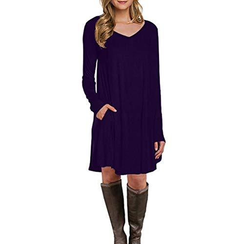 (Summer T Shirt Dress for Women Casual Solid Plain Simple Pocket T Shirt Loose Dress (Purple 2, Medium))
