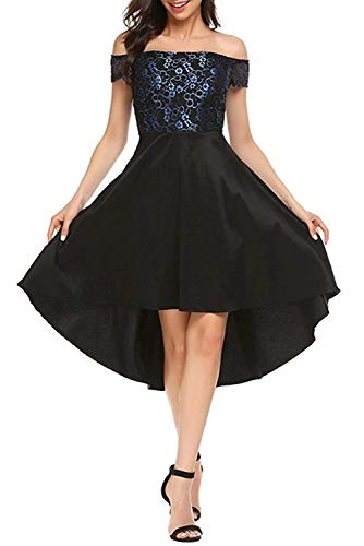 Orita Women Vintage Halter Floral Lace Evening Ball Gown Party Dress Long Formal Prom Dress Black1, Small