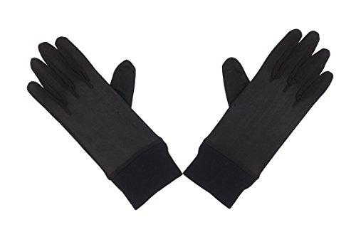 Womens SILK Thermal Liner Inner Gloves New Black For Skiing, Motorbiking,...