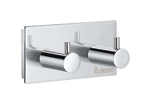 Smedbo Pool Double Towel Hook ZK356 Polished Chrome .Include Glue.Fixing Without Drilling