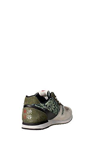 LOT hombre LEYENDA bajas zapatillas de deporte S3182 Shibuya de Tokio Grigio-Verde
