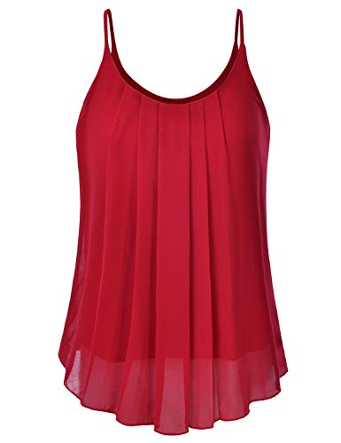 EIMIN Women's Pleated Chiffon Layered Sleeveless Cami Tank Tunic Top RED 1XL