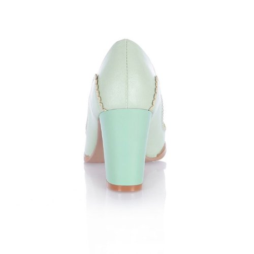 Charm Foot Fashion Bows Womens Chunky High Heel Pumps Shoes Green wE8tl