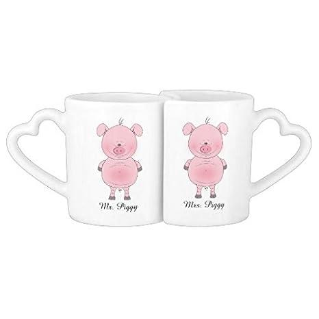 Regali Di Natale Per Coppia.Whiangsfoo Cheerful Pink Pig Cartoon Coppie Tazza Di Caffe Regalo