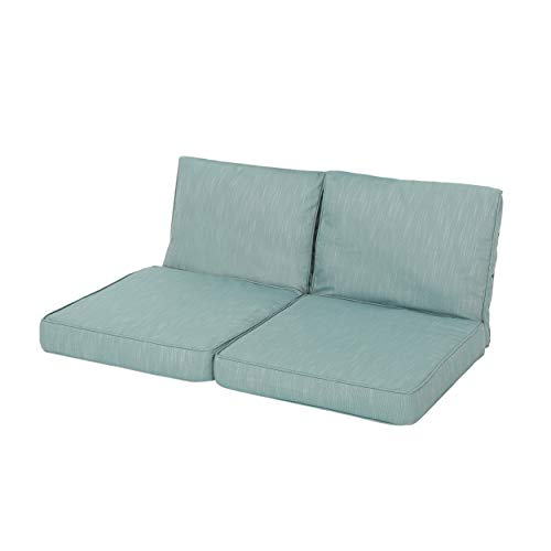 GDF Studio Gustave Outdoor Water-Resistant Fabric Loveseat Cushions with Piping, Teal