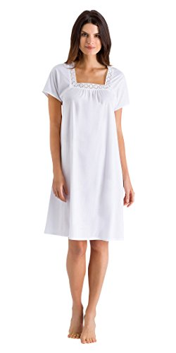Hanro Women's Hazel Short Sleeve Gown, White, Large by HANRO