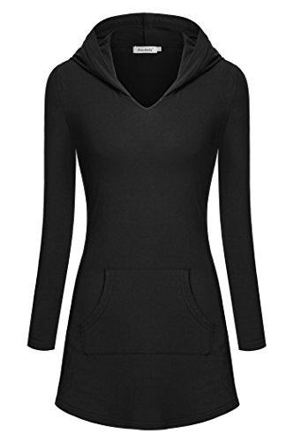Women Hoodies,Ninedaily Long Sleeves V Neck Kangaroo Pocket Tunic Shirt Black S