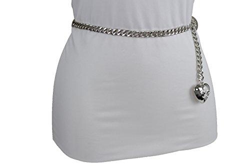 TFJ Women Fashion Skinny Belt Narrow Hip High Waist Silver Metal Chain Love Heart Buckle M L XL by Trendy Fashion Jewelry (Image #8)
